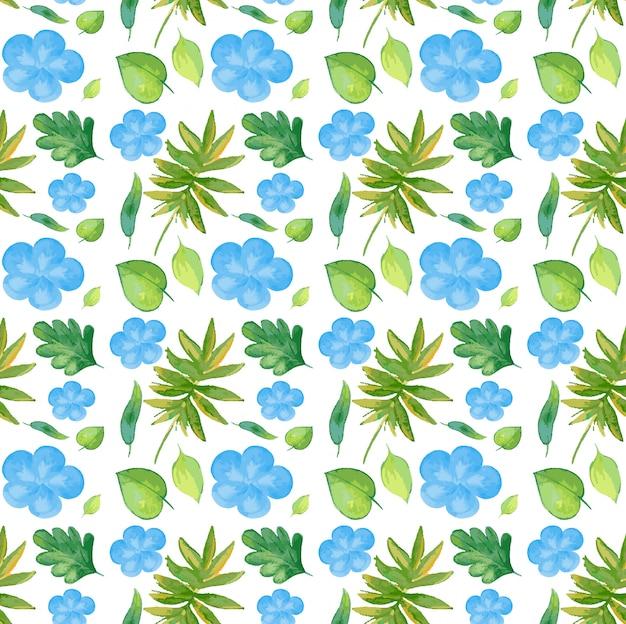 Sem costura com flores azuis e folhas