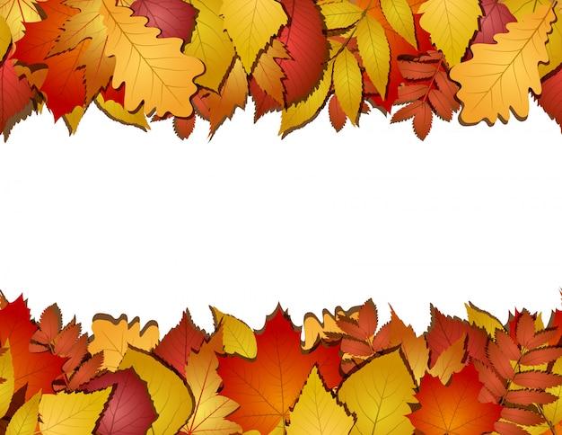 Sem costura com folhas de outono vermelhas e amarelas. ilustração