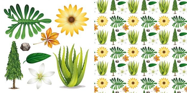 Sem costura com objetos isolados tema jardinagem