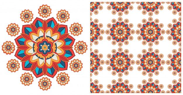 Sem costura com padrão de mandalas coloridas