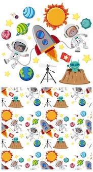 Sem costura com planetas no espaço
