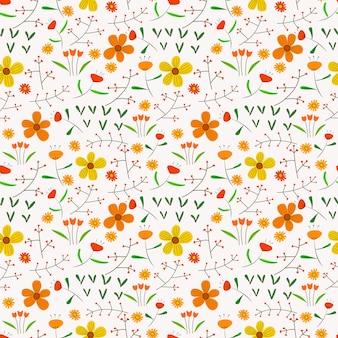 Sem costura de fundo com flores e folhas.