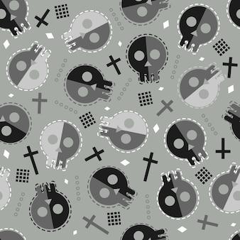 Sem costura de fundo halloween com crânio de doodle
