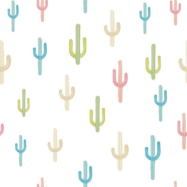 Sem costura de fundo vector com cactus multicolorido