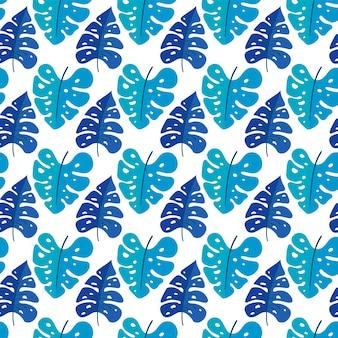 Sem costura de fundo vector com plantas tropicais. folhas tropicais