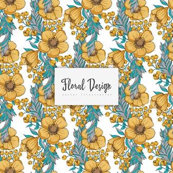 Sem costura fundo amarelo flor aquarela