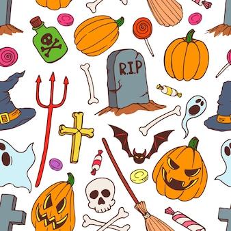 Sem costura fundo colorido de símbolos de halloween do feriado. ilustração desenhada à mão