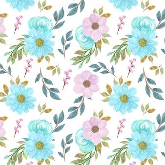 Sem costura fundo floral com lindas flores azuis e roxas