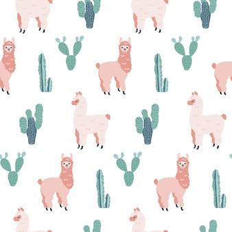 Sem costura mão desenhada padrão com alpacas e cactos.