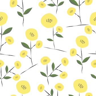 Sem costura mão desenhada padrão floral primavera bonito