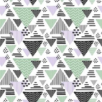 Sem costura mão desenhada triângulo padrão abstrato