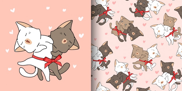Sem costura padrão 2 gatos fofos estão amando no estilo cartoon