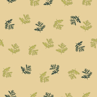 Sem costura padrão absinto em fundo bege. bela planta ornamento verão cor verde. modelo de textura aleatória para tecido. ilustração em vetor design.