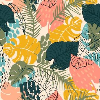 Sem costura padrão abstrato com plantas tropicais