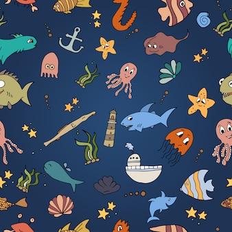Sem costura padrão abstrato fundo náutico e marinho