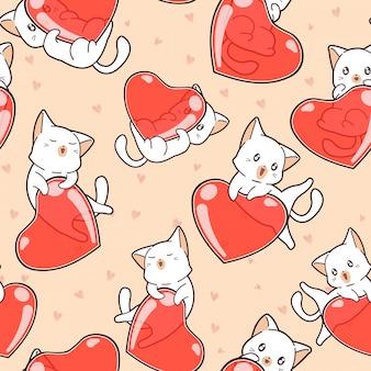 Sem costura padrão adorável gatos e corações no dia dos namorados