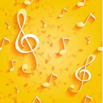 Sem costura padrão amarelo com notas musicais e chave.