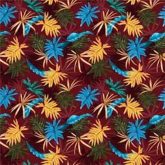 Sem costura padrão bonito retrô artístico tropical com floresta exótica. folhagem elegante folhas coloridas