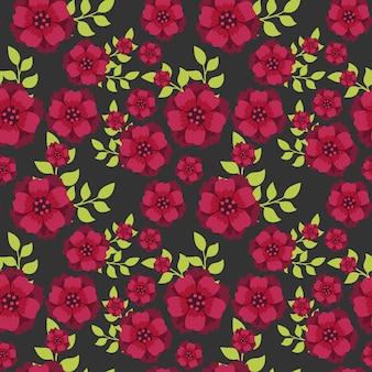 Sem costura padrão botânica flores e folhas de fundo.