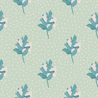 Sem costura padrão botânico com brnaches e bagas. simples silhuetas florais desenhadas à mão em cores rosa pálido e azuis. fundo pontilhado.