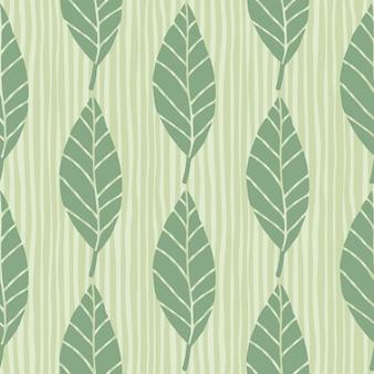 Sem costura padrão botânico com folhas em tons de verde pastel.