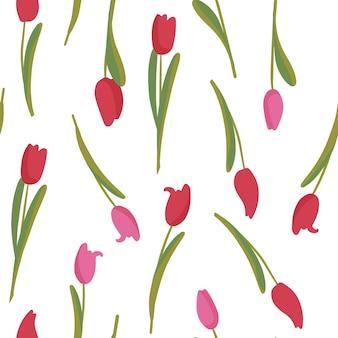 Sem costura padrão botânico de flores de tulipa vermelha com folhas