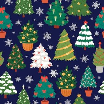 Sem costura padrão de árvores de natal, abetos e pinheiros