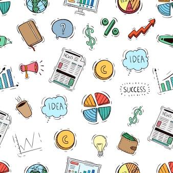 Sem costura padrão de coleção de objetos de negócio fofo com estilo colorido doodle