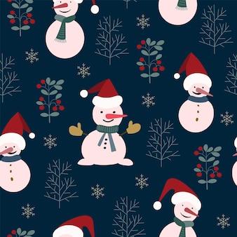 Sem costura padrão de natureza de natal, floresta de inverno, azul escuro, cores vermelhas, árvores, neve, noite, fundo preto. material de tecido, embalagem, papel de parede, design para têxteis, ilustração vetorial