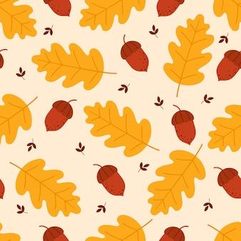 Sem costura padrão de outono de folhas de carvalho e bolotas sobre um fundo claro.