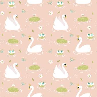Sem costura padrão elegante com cisnes