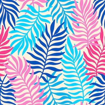 Sem costura padrão exótico com folhas de palmeira. ilustração em vetor tropical.