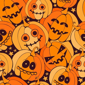 Sem costura padrão feliz dia das bruxas com abóboras laranja assustadoras em fundo escuro. vetor desenhado à mão