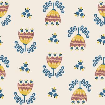 Sem costura padrão floral botânico de elementos em estilo étnico popular