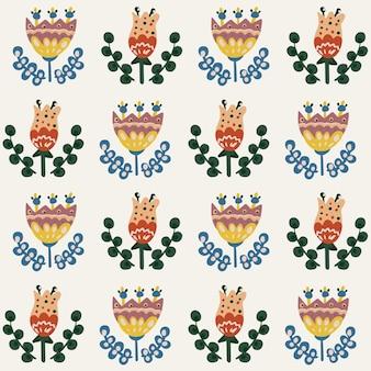Sem costura padrão floral botânico de elementos em estilo étnico popular.