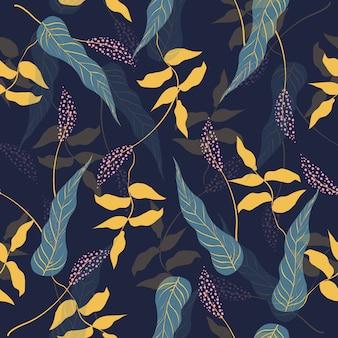 Sem costura padrão floral colorido em azul escuro