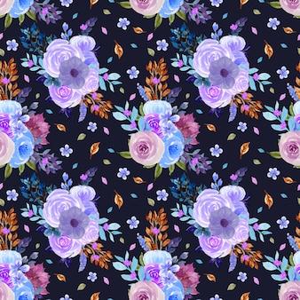 Sem costura padrão floral com flores azuis e roxas