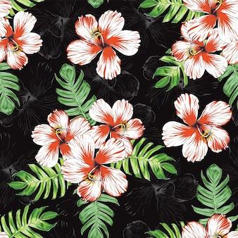 Sem costura padrão floral com flores de hibisco e fundo abstrato de folha monstera. ilustração desenhado à mão.