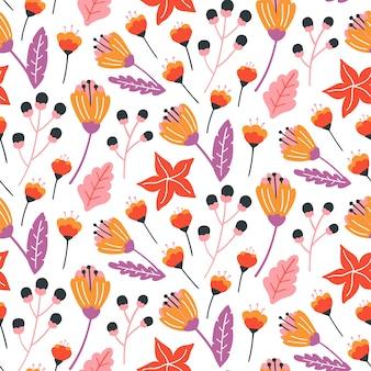 Sem costura padrão floral com flores, folhas e ervas.