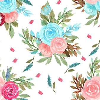 Sem costura padrão floral com flores rosa e azuis