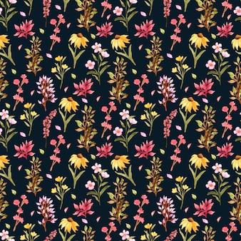 Sem costura padrão floral com flores silvestres