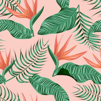 Sem costura padrão floral com folhas tropicais, fundo tropical