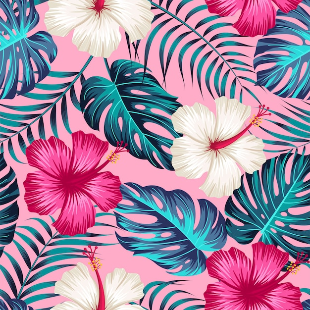 Sem costura padrão floral com folhas tropicais