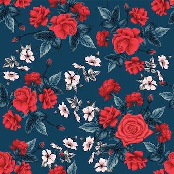 Sem costura padrão floral com fundo abstrato de flores rosas vermelhas.