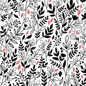 Sem costura padrão floral com galhos
