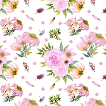 Sem costura padrão floral com margarida e rosa flores