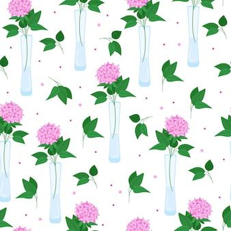 Sem costura padrão floral com papoilas vermelhas flores em vasos lindas flores ilustração vetorial