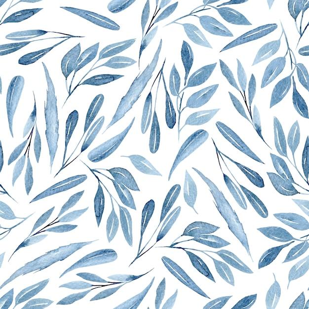 Sem costura padrão floral com ramos azuis em aquarela