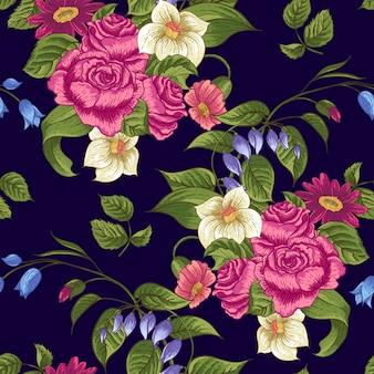 Sem costura padrão floral com rosas e flores silvestres