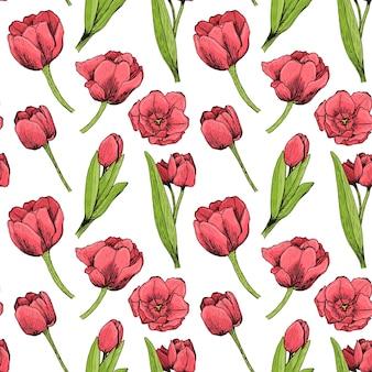 Sem costura padrão floral com tulipas vermelhas desenhadas à mão